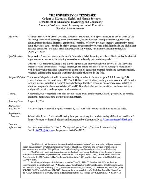 assistant professor position learning education