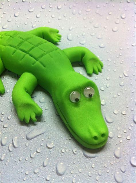 fondant crocodile cake topper   safari  jungle
