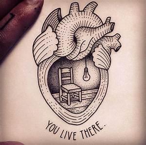 Dotwork Real Heart Tattoo Design