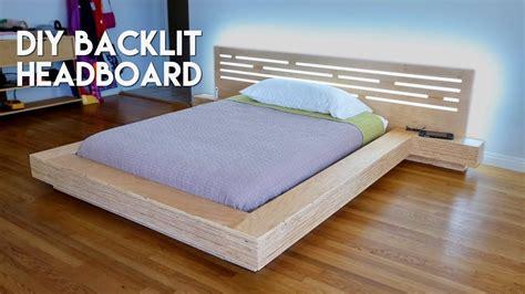 diy modern plywood platform bed part 2 led backlit