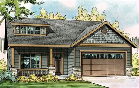 ranch style house plan    bed  bath  car garage   craftsman style house