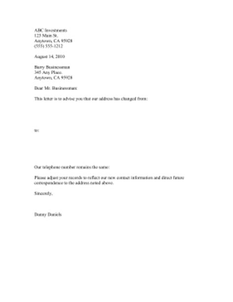 address change notification letter template