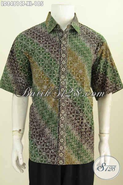 desain baju batik pria kombinasi hem batik untuk kerja lengan pendek motif terbaru 2017 til
