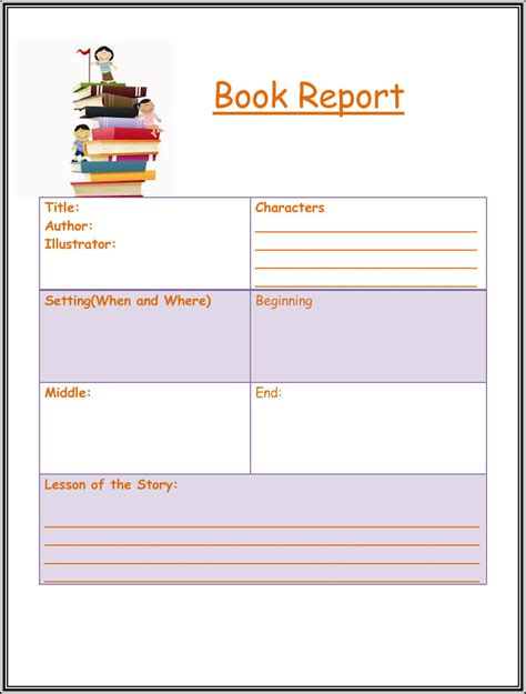 Free Book Report & Worksheet Templates  Word Layouts