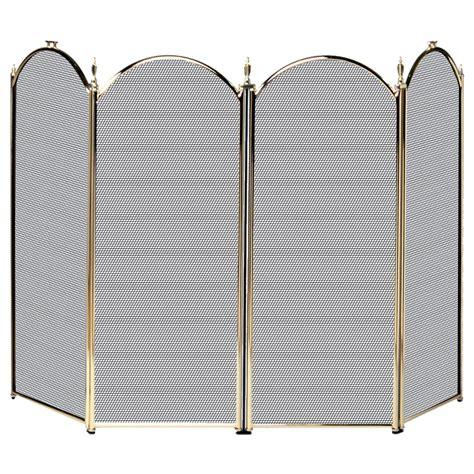 4 Fold Polished Brass Screen With Decorative Filigree