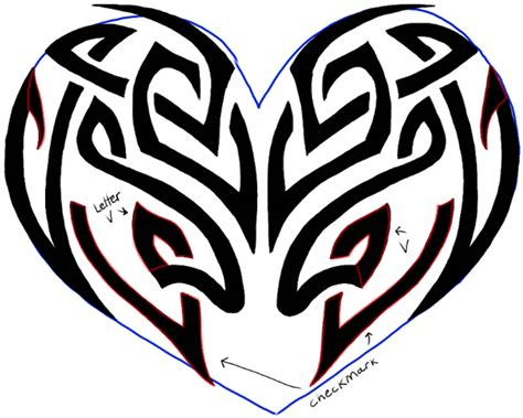draw  tribal heart tattoo design  easy step