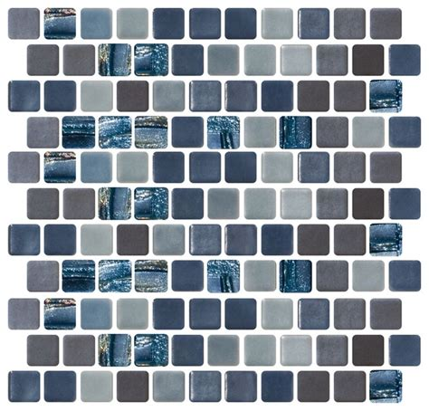 sheet of blue silver and gray recycled glass tile