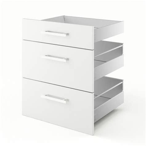 meuble cuisine largeur 55 cm 3 tiroirs de cuisine blanc 3d60 délice l60 x h70 x p55 cm