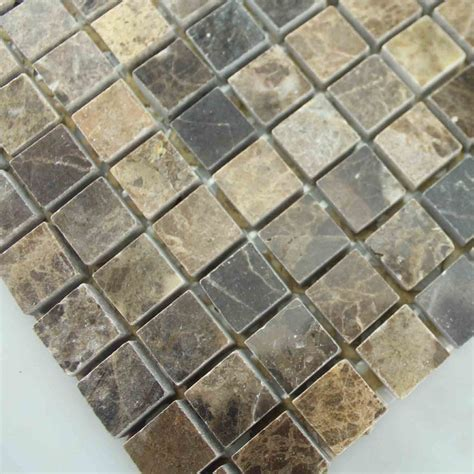 Marble Mosaic Tile by Mosaic Tile Square Brown Pattern Washroom Wall