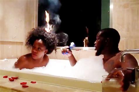 moment woman sets hair  fire  romantic bath
