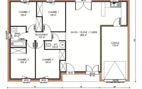 superficie chambre plan et photos maison 4 chambres de 87 m