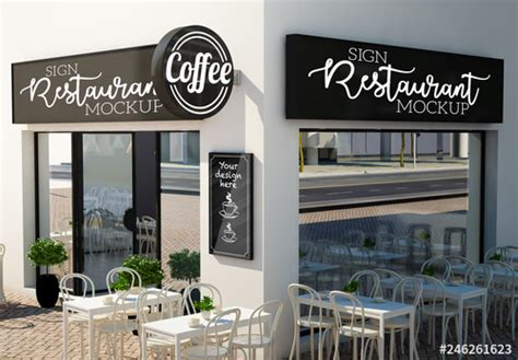 Menu mockups outlines are crucial in persuading clients. Outdoor Café or Restaurant Signage Mockup. Buy this stock ...