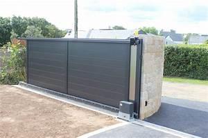 Portail Alu 4m : portail coulissant electrique 4m portail alu gris ~ Voncanada.com Idées de Décoration