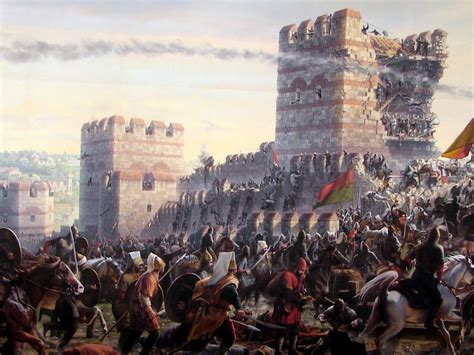 The Ottoman Turks by Janissaries Storming The Wall Of Constantinople