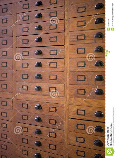 Vintage file cabinet stock photo. Image of label, data