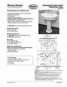 Standard Collection Pedestal Sink 0283 800 Manuals