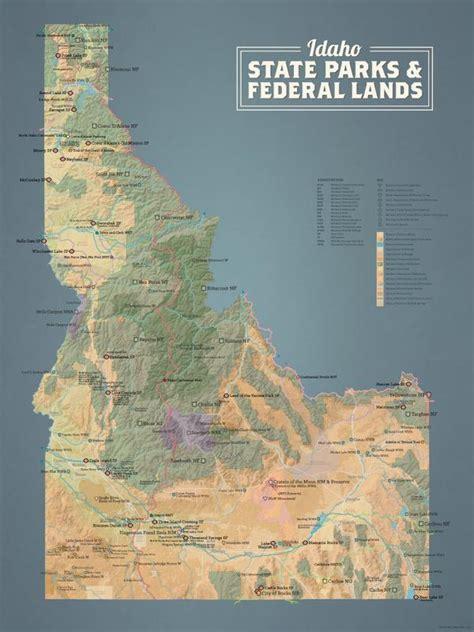 idaho map parks state lands federal poster washington 18x24 natural earth maps