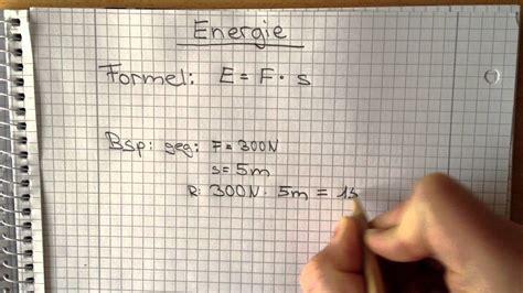 physik energie berechnen die formel youtube