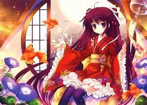 Original, Animal, Bubbles, Fish, Flowers, Japanese, Clothes, Kimono, Long, Hair, Mitha, Scan
