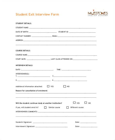 exit interview forms templates exit interview form 9 free pdf word documents download