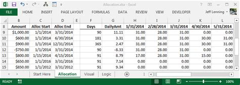 excel formula  allocate  amount  monthly columns