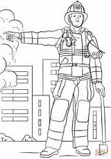 Firefighter Fireman Coloring Pages Printable Fire Professions Colouring Drawing Dot Department Printables Paper sketch template