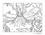 Volcano Coloring Erupting Zoomed Close Crop sketch template