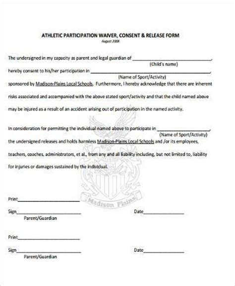 Participation Waiver Template sle athlete waiver forms 9 free documents in word pdf