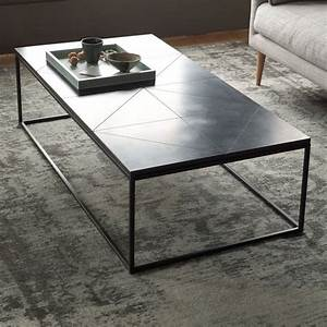 Stone coffee tables with modern style for Metal coffee table with stone top