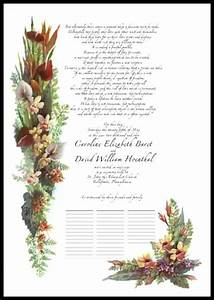 Flower Place Cards Wedding Certificates Wedding Vows Poetry Anniversary Gifts