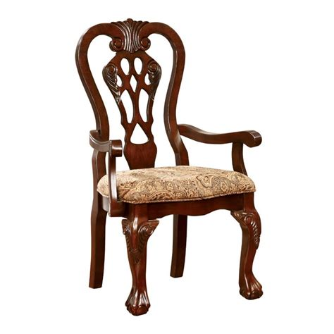 furniture of america wilson dining arm chair in cherry