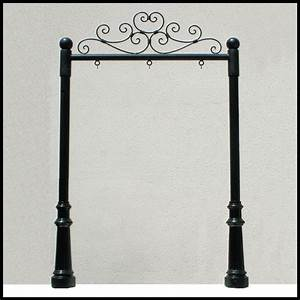 Wrought Iron Post and Panel Sign Brackets