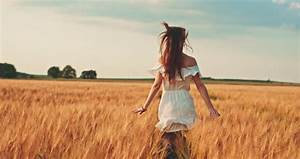 Beauty Girl Running On Yellow Wheat Field Over Sunset Sky ...