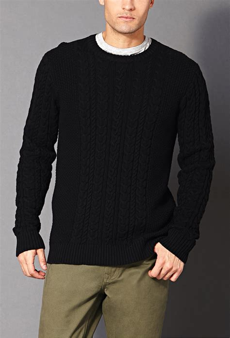 black sweater forever 21 chunky cable knit sweater in black for lyst