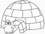 Igloo Coloring Winter Coloriage Visit sketch template