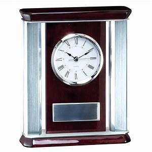 Silver, Accented, Rosewood, Desk, Clock
