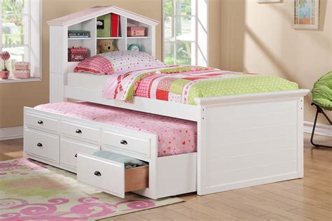 White Single Trundle Bed With Storage And Bookcase