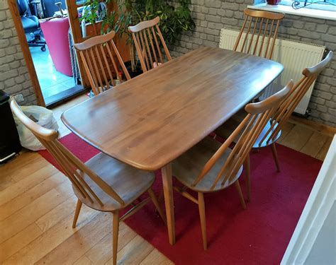 ercol vintage elm large plank dining kitchen table