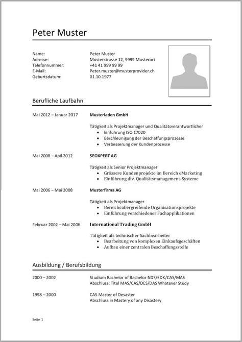 Muster Lebenslauf by Lebenslauf Vorlagen Muster Kostenlose Word Vorlage