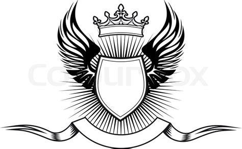 coat of arms template wings heraldry elements with wings and ribbons for design