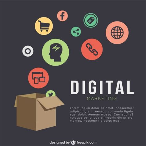 Free Digital Marketing by Digital Marketing Template With Icons Vector Free