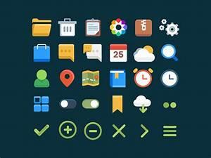 Freebies  30 User Interface Flat Icons Set By Worawaluns