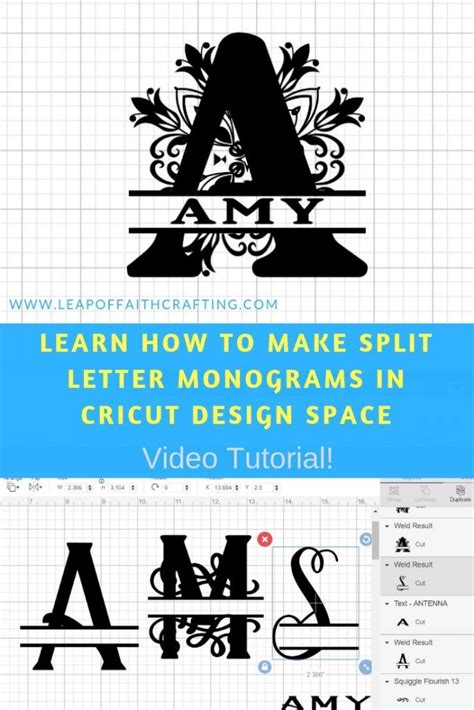 split letter monogram cricut design space tutorial cricut monogram monogram