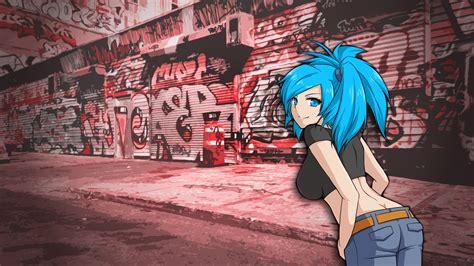 Anime Graffiti Wallpaper - wallpaper anime blue hair graffiti