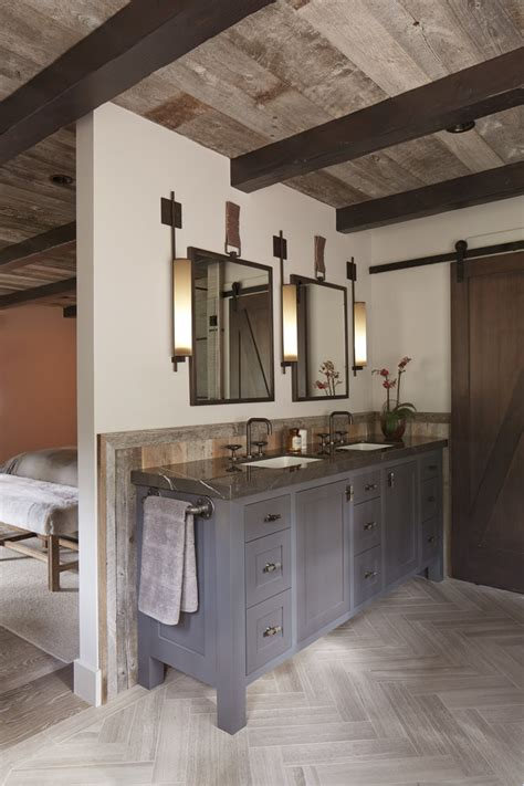 barn door with mirror bathroom rustic with two sinks two sinks