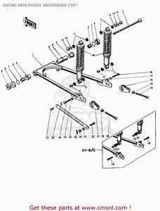 Kawasaki H1 Mach Iii 1969 Canada Swing Arm  Shock Absorbers
