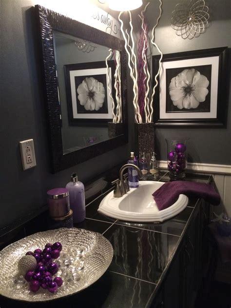 black  grey bathroom  lavender accents home sweet