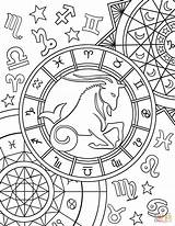 Zodiac Coloring Capricorn Sign Pages Signs Printable Adult Colouring Aries Star Taurus Astrology Horoscope Sheets Printables Supercoloring Mandala Colors Therapy sketch template