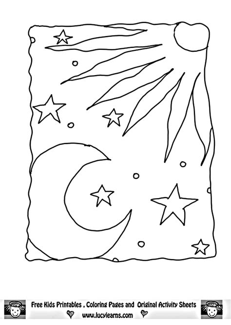 Sun Moon and Stars Coloring Page