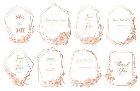 Set of geometric frame Hand drawn flowers Botanical